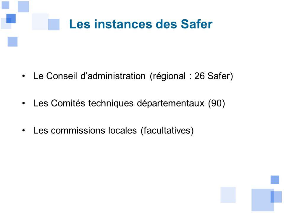 Les instances des Safer Le Conseil dadministration (régional : 26 Safer) Les Comités techniques départementaux (90) Les commissions locales (facultati