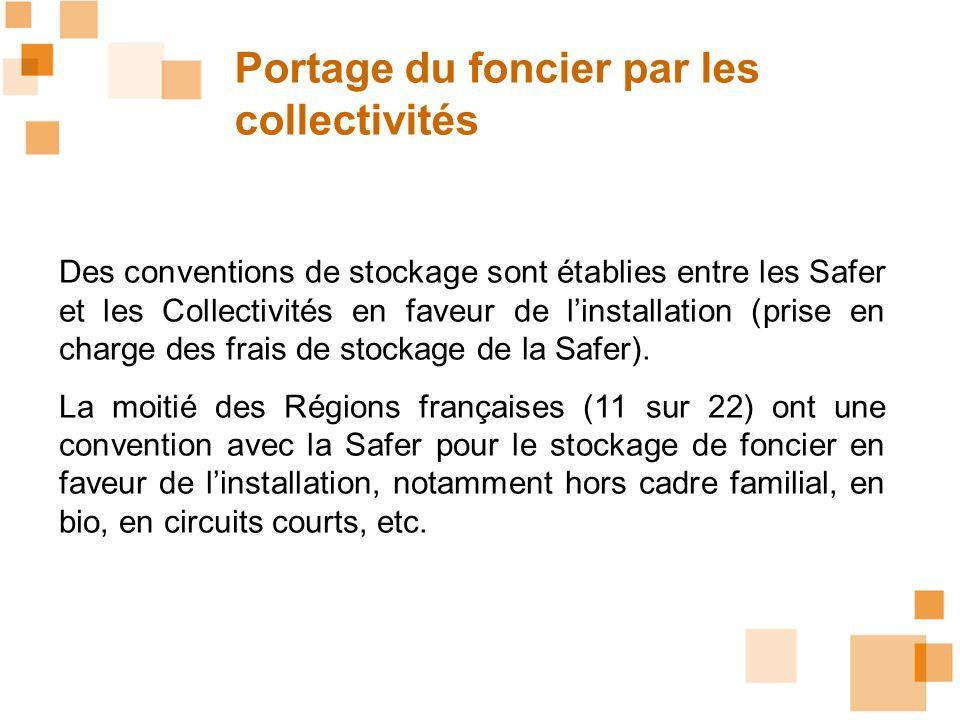 Portage du foncier par les collectivités Des conventions de stockage sont établies entre les Safer et les Collectivités en faveur de linstallation (pr