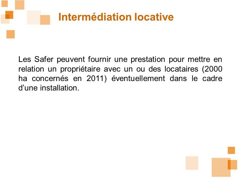 Intermédiation locative Les Safer peuvent fournir une prestation pour mettre en relation un propriétaire avec un ou des locataires (2000 ha concernés