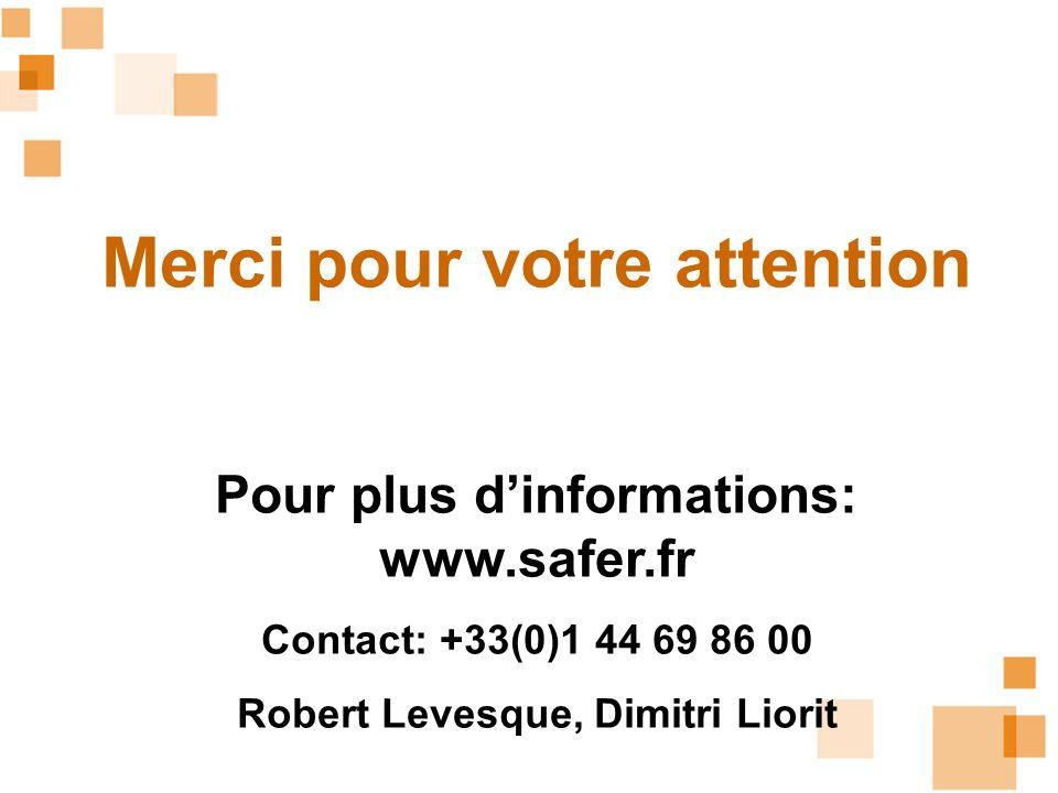 Merci pour votre attention Pour plus dinformations: www.safer.fr Contact: +33(0)1 44 69 86 00 Robert Levesque, Dimitri Liorit