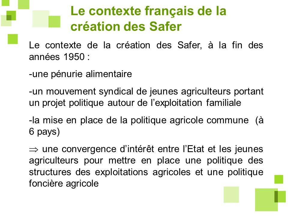 Le contexte de la création des Safer, à la fin des années 1950 : -une pénurie alimentaire -un mouvement syndical de jeunes agriculteurs portant un pro