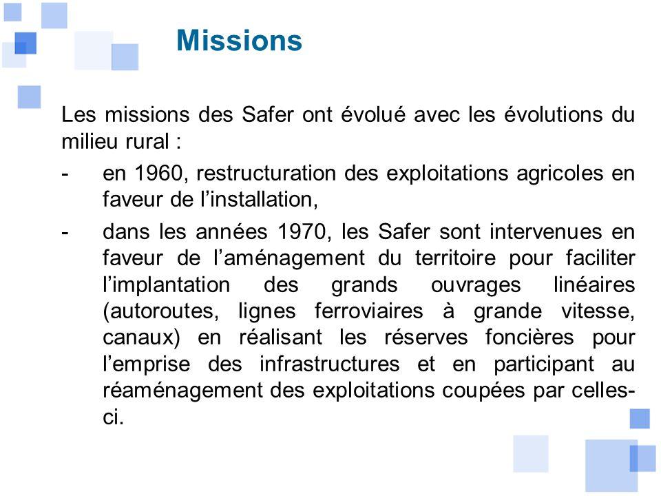 Les missions des Safer ont évolué avec les évolutions du milieu rural : -en 1960, restructuration des exploitations agricoles en faveur de linstallati