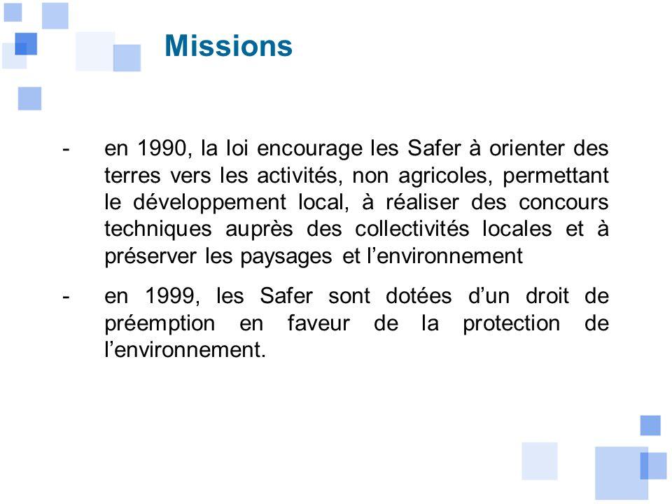 -en 1990, la loi encourage les Safer à orienter des terres vers les activités, non agricoles, permettant le développement local, à réaliser des concou