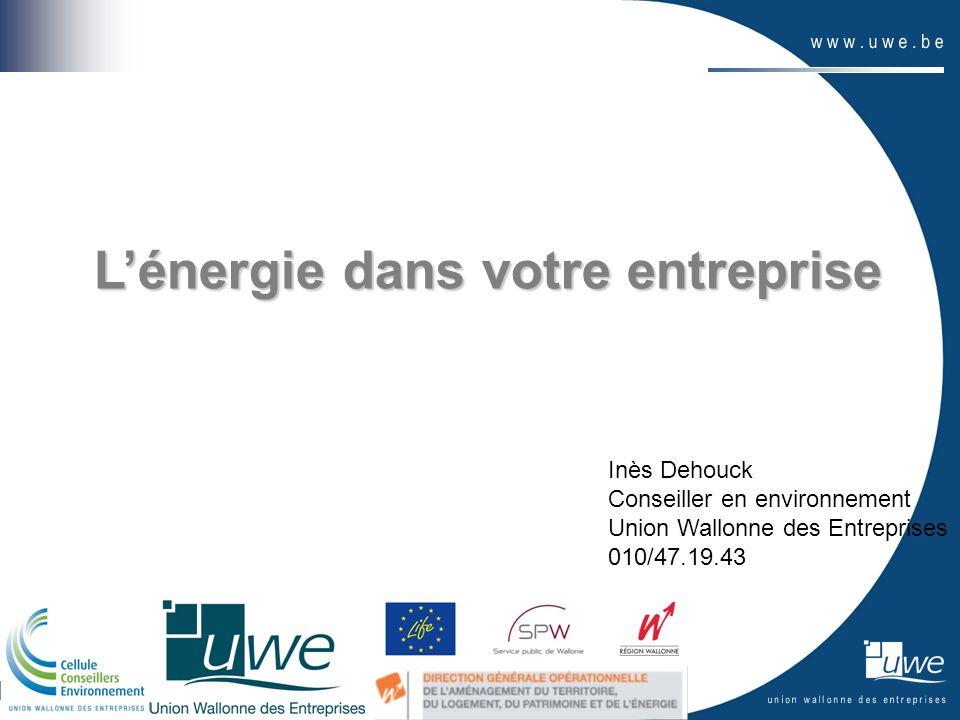 Lénergie dans votre entreprise Inès Dehouck Conseiller en environnement Union Wallonne des Entreprises 010/47.19.43