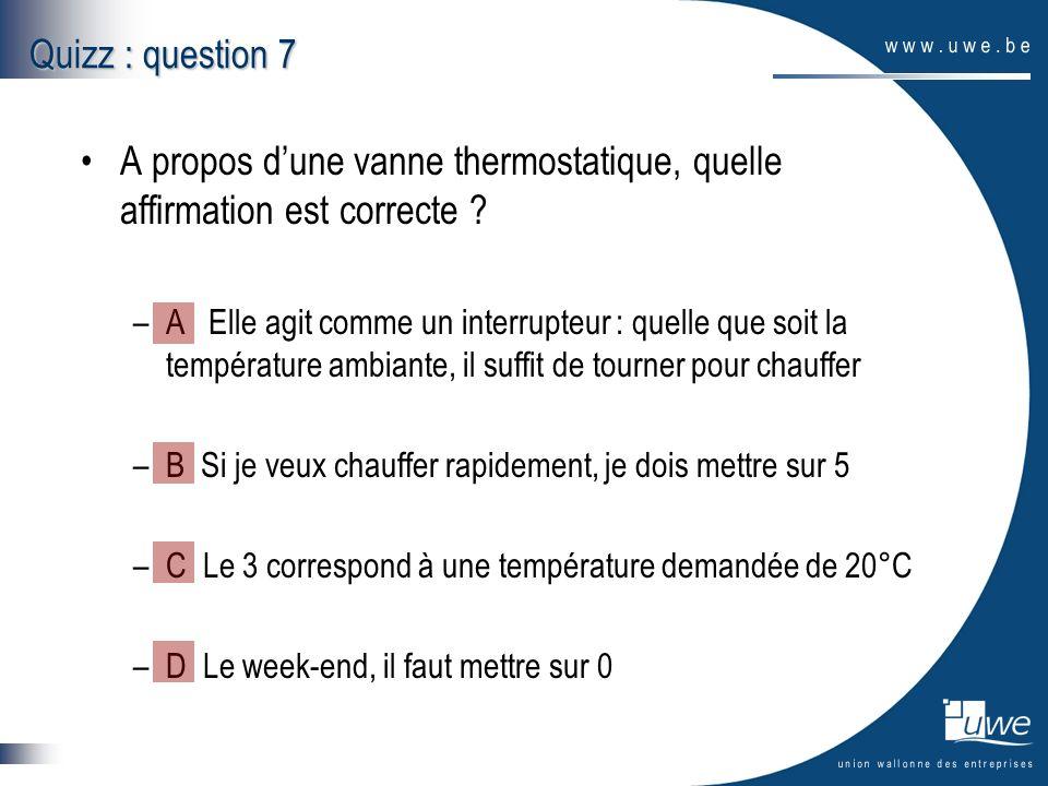 A propos dune vanne thermostatique, quelle affirmation est correcte ? –A Elle agit comme un interrupteur : quelle que soit la température ambiante, il