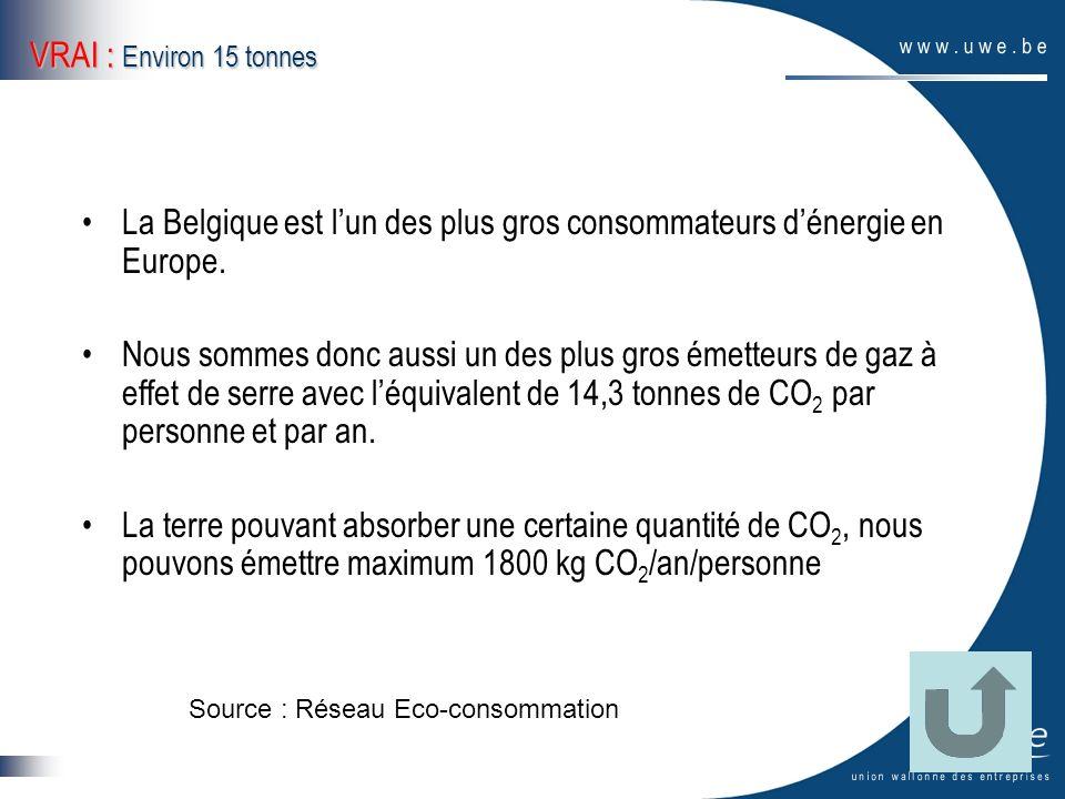 VRAI : Environ 15 tonnes La Belgique est lun des plus gros consommateurs dénergie en Europe. Nous sommes donc aussi un des plus gros émetteurs de gaz