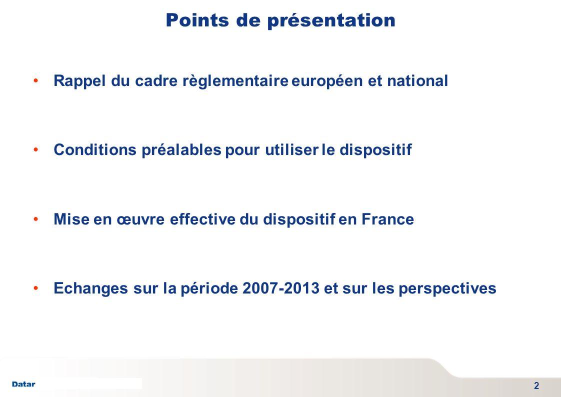 TITRE PRESENTATION DATE 06/01/2012 - SGAE Présentation du cadre règlementaire : Au niveau européen : -règlement n°437/2010 du Parlement européen et du Conseil du 19 mai 2010 permet aux Etats membres de cofinancer des dépenses de logement en faveur des Communautés marginalisées avec du FEDER sur la période 2007-2013.
