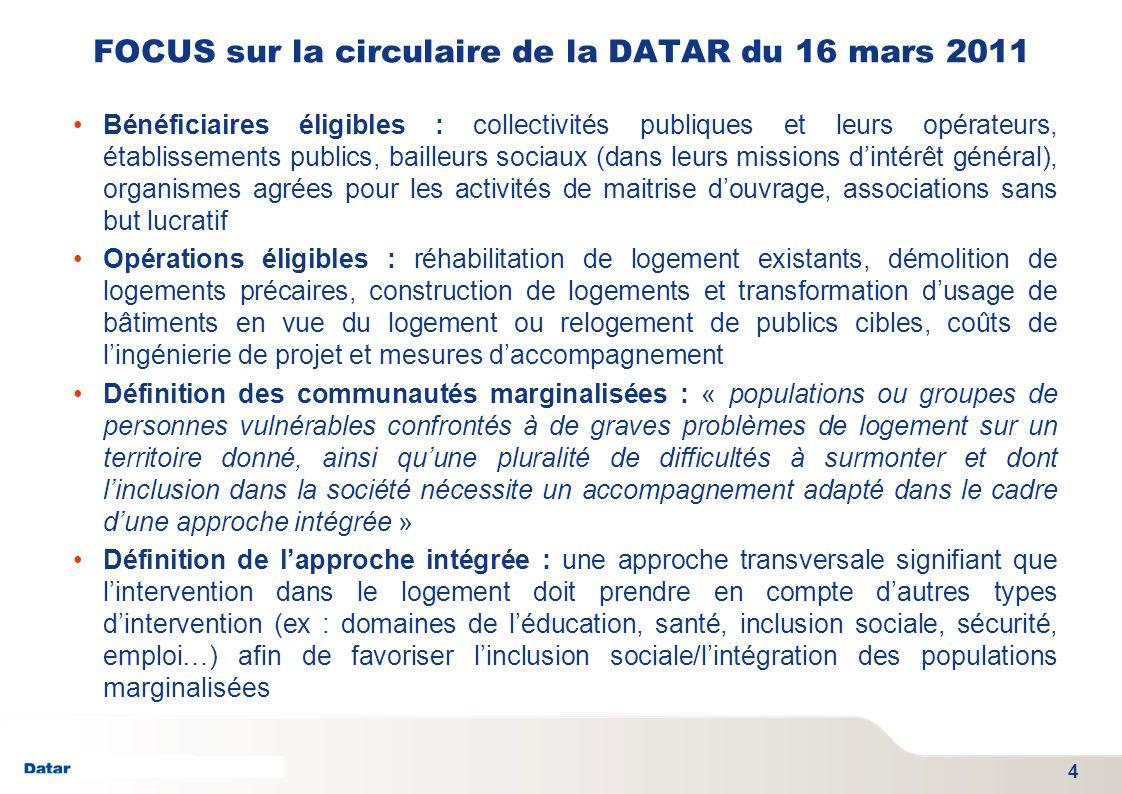 TITRE PRESENTATION DATE 06/01/2012 - SGAE FOCUS sur la circulaire de la DATAR du 16 mars 2011 Bénéficiaires éligibles : collectivités publiques et leu