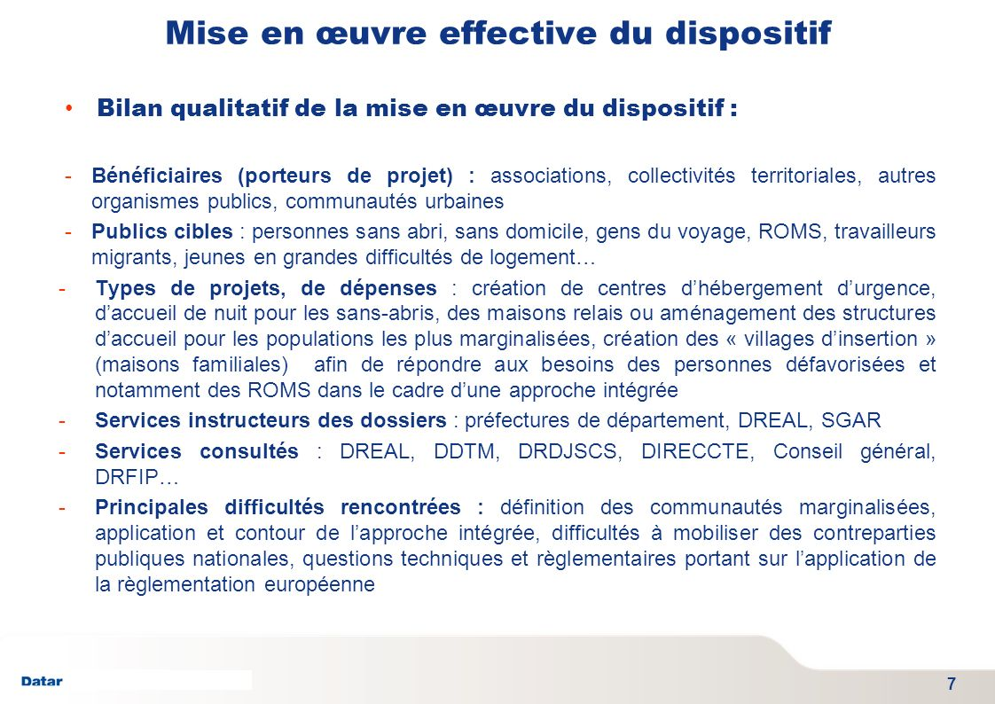 TITRE PRESENTATION DATE 06/01/2012 - SGAE Mise en œuvre effective du dispositif Bilan qualitatif de la mise en œuvre du dispositif : -Bénéficiaires (p