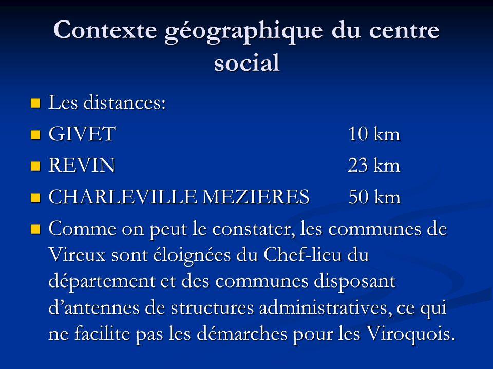 Contexte géographique du centre social Les distances: Les distances: GIVET 10 km GIVET 10 km REVIN 23 km REVIN 23 km CHARLEVILLE MEZIERES 50 km CHARLE