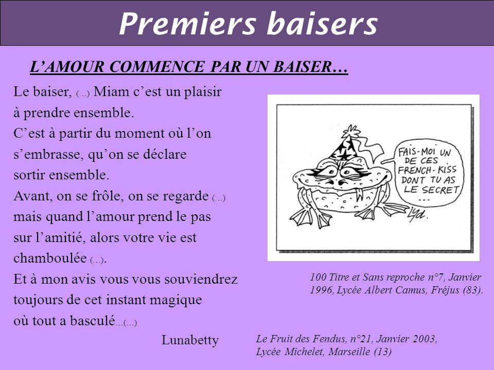 Premiers baisers Qui va piano… 6 mottes n°20, Mars 1992, L. P. Les Marcs dor, Dijon (21) Le Dindon, Avril 2000 Lycée Fustel de Coulanges Strasbourg (6