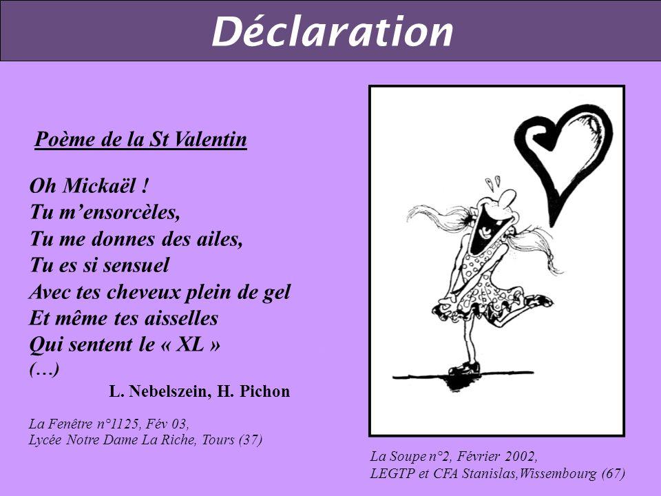 Poème de la St Valentin Oh Mickaël .