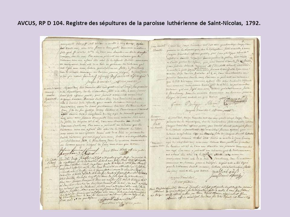 AVCUS, RP D 104. Registre des sépultures de la paroisse luthérienne de Saint-Nicolas, 1792.