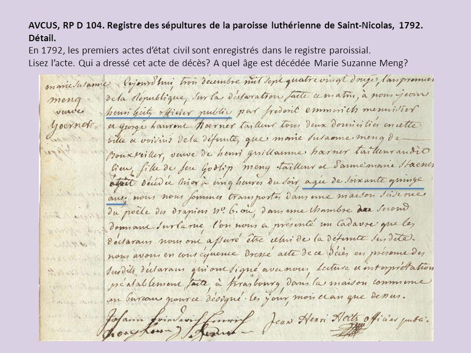 AVCUS, RP D 104. Registre des sépultures de la paroisse luthérienne de Saint-Nicolas, 1792. Détail. En 1792, les premiers actes détat civil sont enreg