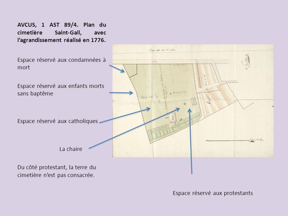 AVCUS, 1 AST 89/4. Plan du cimetière Saint-Gall, avec lagrandissement réalisé en 1776. Espace réservé aux condamnées à mort Espace réservé aux enfants