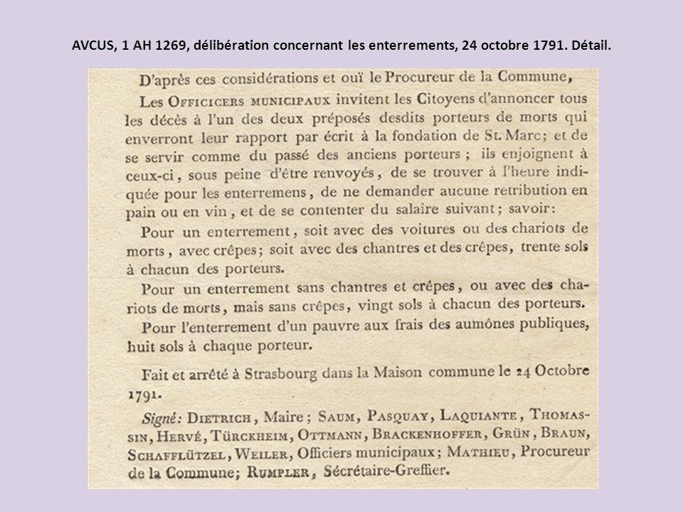 AVCUS, 1 AH 1269, délibération concernant les enterrements, 24 octobre 1791. Détail.