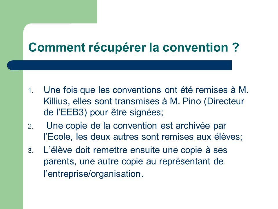 Comment récupérer la convention ? 1. Une fois que les conventions ont été remises à M. Killius, elles sont transmises à M. Pino (Directeur de lEEB3) p