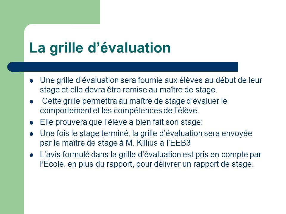 La grille dévaluation Une grille dévaluation sera fournie aux élèves au début de leur stage et elle devra être remise au maître de stage. Cette grille