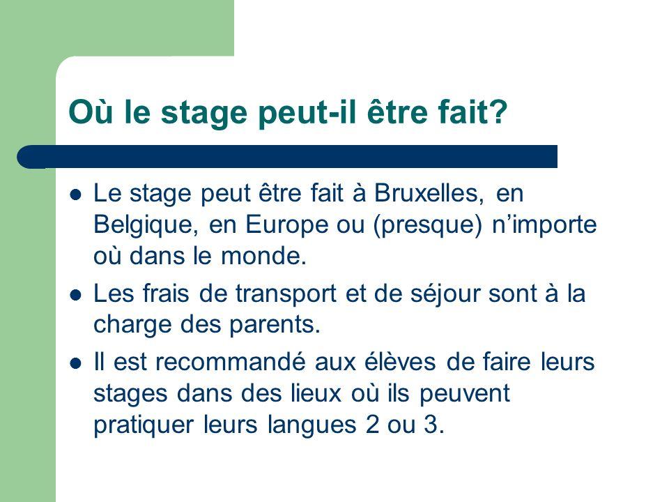 Où le stage peut-il être fait? Le stage peut être fait à Bruxelles, en Belgique, en Europe ou (presque) nimporte où dans le monde. Les frais de transp