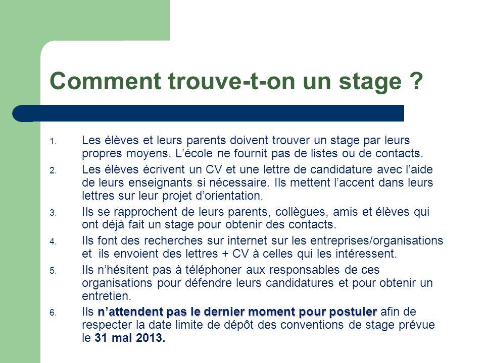Comment trouve-t-on un stage ? 1. Les élèves et leurs parents doivent trouver un stage par leurs propres moyens. Lécole ne fournit pas de listes ou de