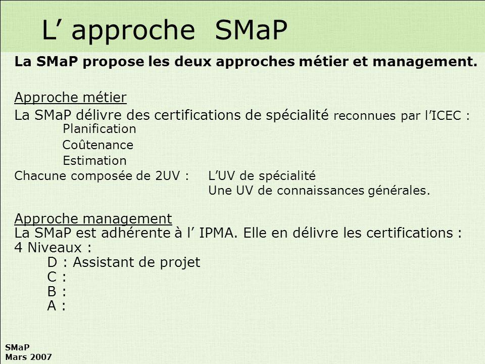 SMaP Mars 2007 La SMaP propose les deux approches métier et management. Approche métier La SMaP délivre des certifications de spécialité reconnues par