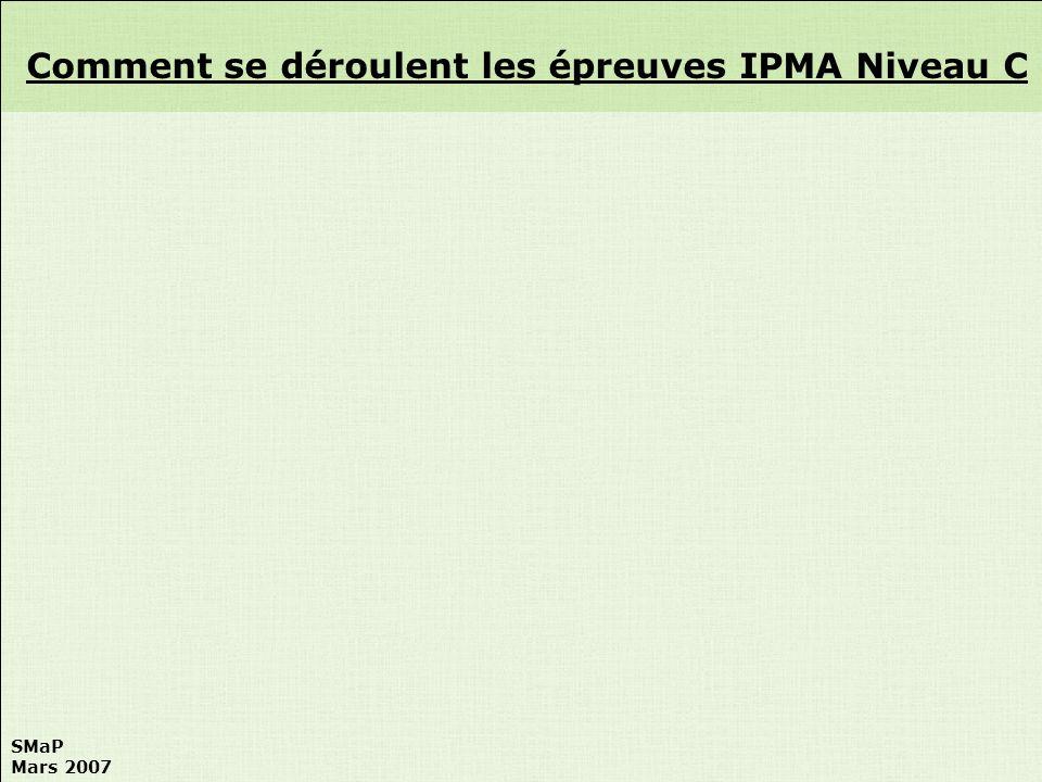 SMaP Mars 2007 Comment se déroulent les épreuves IPMA Niveau C