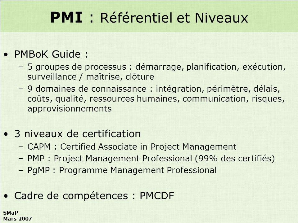 SMaP Mars 2007 PMBoK Guide : –5 groupes de processus : démarrage, planification, exécution, surveillance / maîtrise, clôture –9 domaines de connaissan