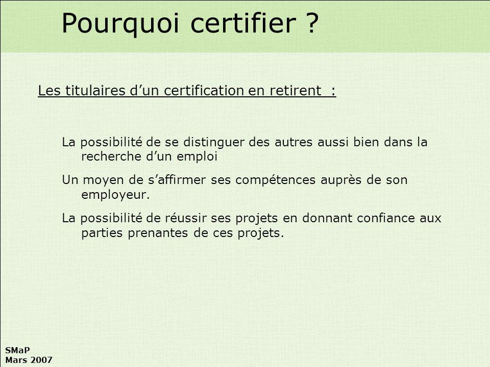 SMaP Mars 2007 Certification SMaP les gens Référentiels Gilles Caupin IPMA Niveau D Jean Claude Brocker EADS Directeur de la certification Jean Louis Muller CEGOS IPMA Niveaux C B A Philippe Lebigot EDF, Président SMaP
