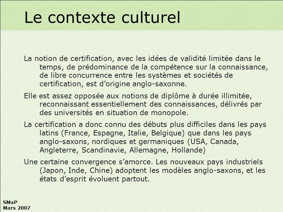 SMaP Mars 2007 AIPM (Australian Institute of Project Management) –Site : http://www.aipm.com.auhttp://www.aipm.com.au –Association Professionnelle Nationale –7.000 membres (dont 7 % hors dAustralie) IPMA (International Project Management Association) –Site : http://www.ipma.chhttp://www.ipma.ch –Fédération Internationale dAssociations Professionnelles Nationales –44 Associations membres (Europe : 29 ; Asie : 10 ; Afrique : 3 ; Amérique : 2) –34 organismes nationaux de certification PMAJ (Project Management Association of Japan) –Site : http://www.pmaj.org.jphttp://www.pmaj.org.jp –Association Professionnelle Nationale PMI (Project Management Institute) –Site : http://www.pmi.orghttp://www.pmi.org –Association Professionnelle US, 220.000 membres dont 15% hors Amérique du Nord, 125 pays PRINCE2 –Site : http://www.prince2.org.ukhttp://www.prince2.org.uk –Méthodologie développée par OGC comme base de certification LES INSTITUTIONS