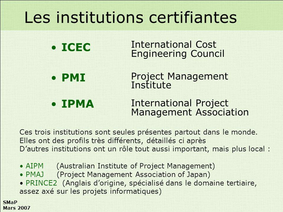 SMaP Mars 2007 1/ Module Connaissances Générales Voir ICEC 2/ Dossier Personnel Consiste en létablissement dun dossier de projet fictif comportant tous les documents caractéristiques de chaque phase.
