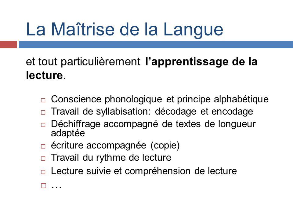 La Maîtrise de la Langue Conscience phonologique et principe alphabétique Travail de syllabisation: décodage et encodage Déchiffrage accompagné de tex