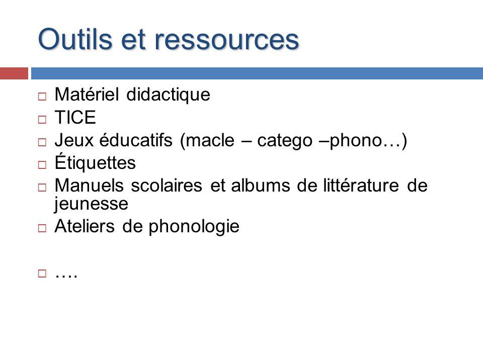 Outils et ressources Matériel didactique TICE Jeux éducatifs (macle – catego –phono…) Étiquettes Manuels scolaires et albums de littérature de jeuness