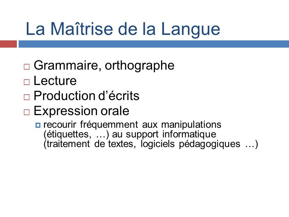 La Maîtrise de la Langue Grammaire, orthographe Lecture Production décrits Expression orale recourir fréquemment aux manipulations (étiquettes, …) au