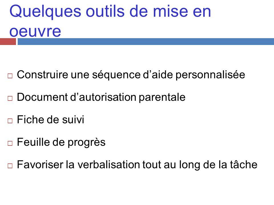 Quelques outils de mise en oeuvre Construire une séquence daide personnalisée Document dautorisation parentale Fiche de suivi Feuille de progrès Favor