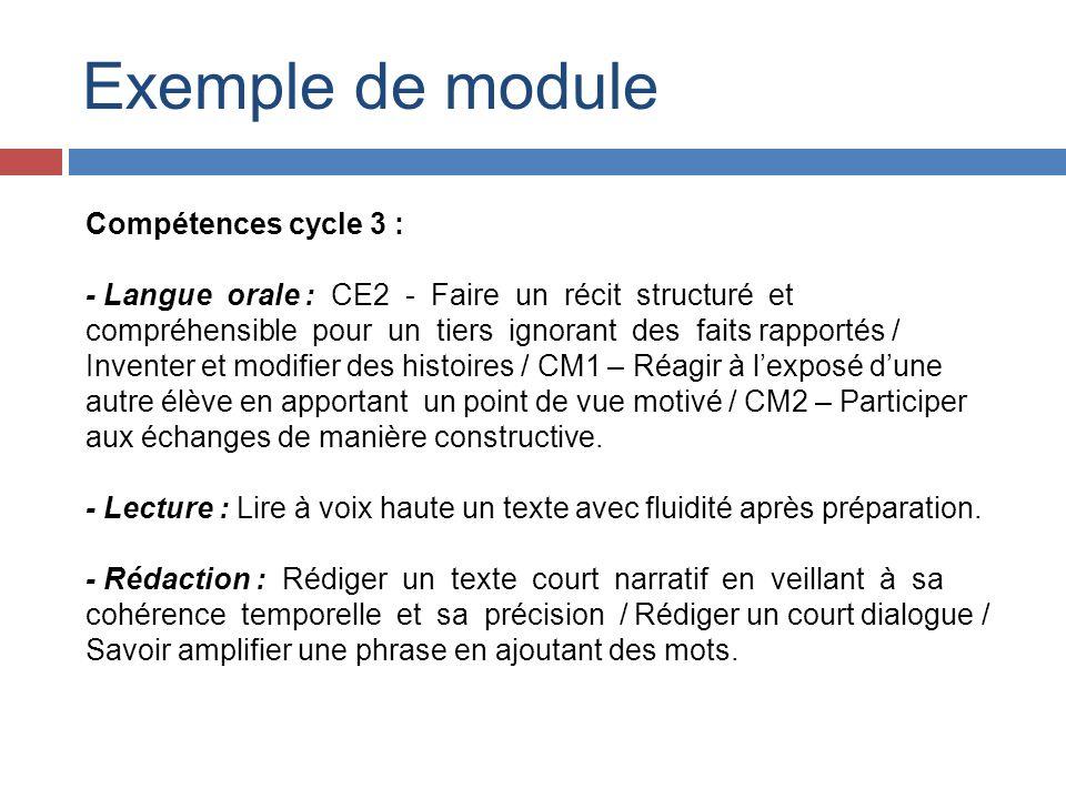 Exemple de module Compétences cycle 3 : - Langue orale : CE2 - Faire un récit structuré et compréhensible pour un tiers ignorant des faits rapportés /