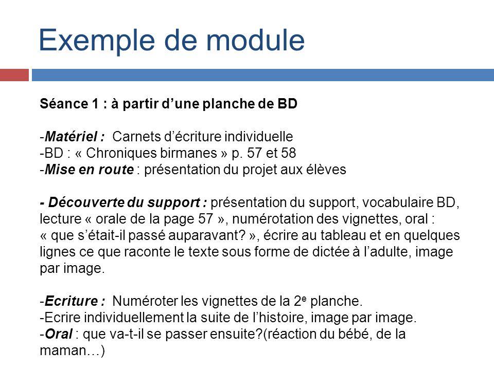 Exemple de module Séance 1 : à partir dune planche de BD -Matériel : Carnets décriture individuelle -BD : « Chroniques birmanes » p. 57 et 58 -Mise en