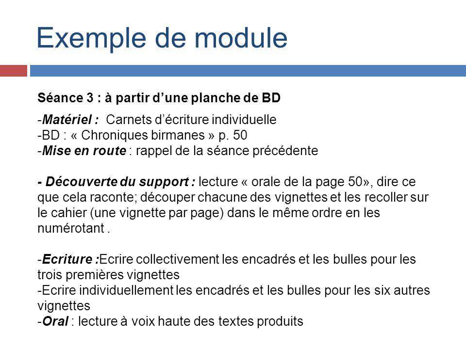 Exemple de module Séance 3 : à partir dune planche de BD -Matériel : Carnets décriture individuelle -BD : « Chroniques birmanes » p. 50 -Mise en route