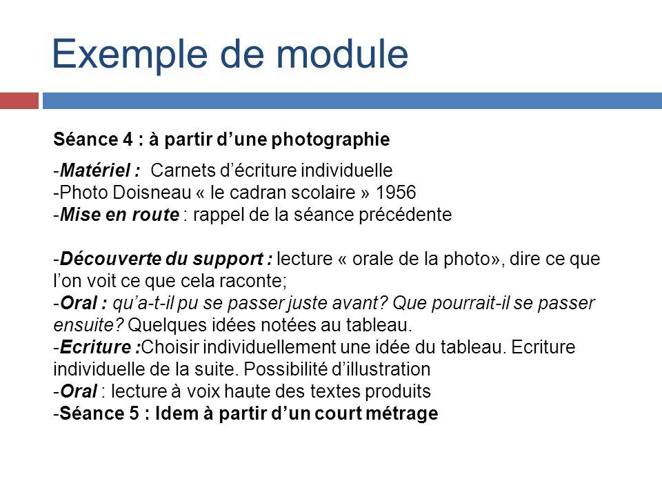 Exemple de module Séance 4 : à partir dune photographie -Matériel : Carnets décriture individuelle -Photo Doisneau « le cadran scolaire » 1956 -Mise e