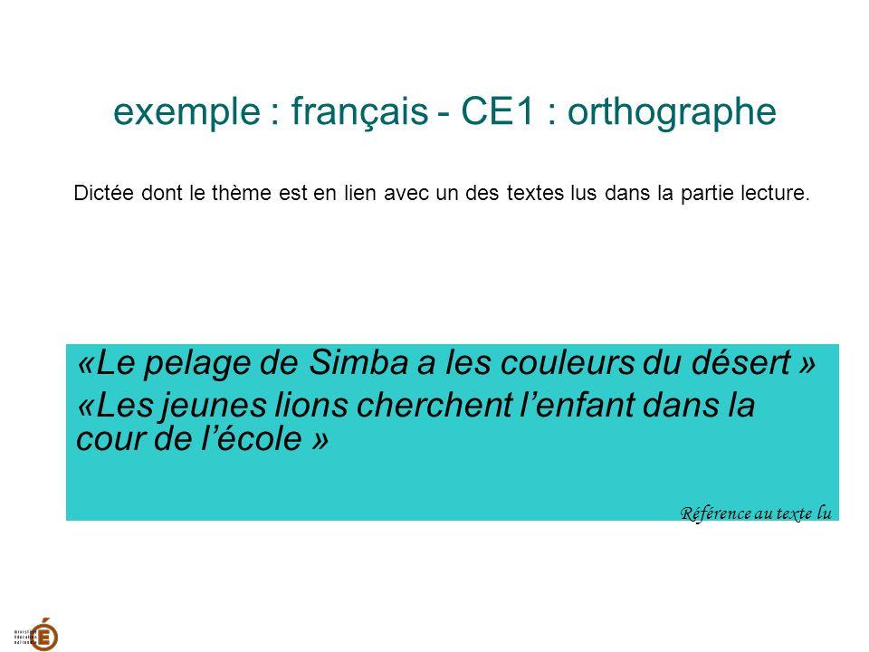 exemple : français - CE1 : orthographe Dictée dont le thème est en lien avec un des textes lus dans la partie lecture. «Le pelage de Simba a les coule