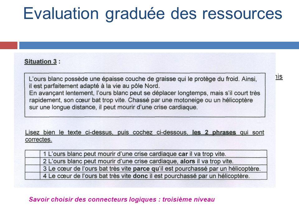 Evaluation graduée des ressources Savoir choisir des connecteurs logiques : troisième niveau