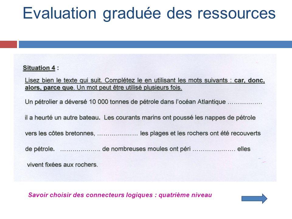 Evaluation graduée des ressources Savoir choisir des connecteurs logiques : quatrième niveau