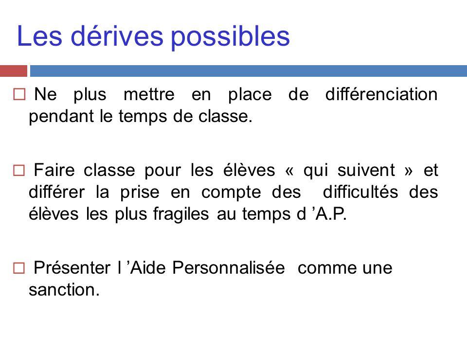 Les dérives possibles Ne plus mettre en place de différenciation pendant le temps de classe. Faire classe pour les élèves « qui suivent » et différer