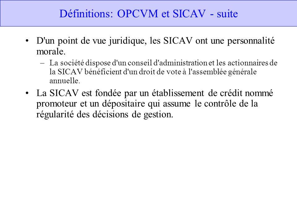 Définitions: OPCVM et SICAV - suite D'un point de vue juridique, les SICAV ont une personnalité morale. –La société dispose d'un conseil d'administrat