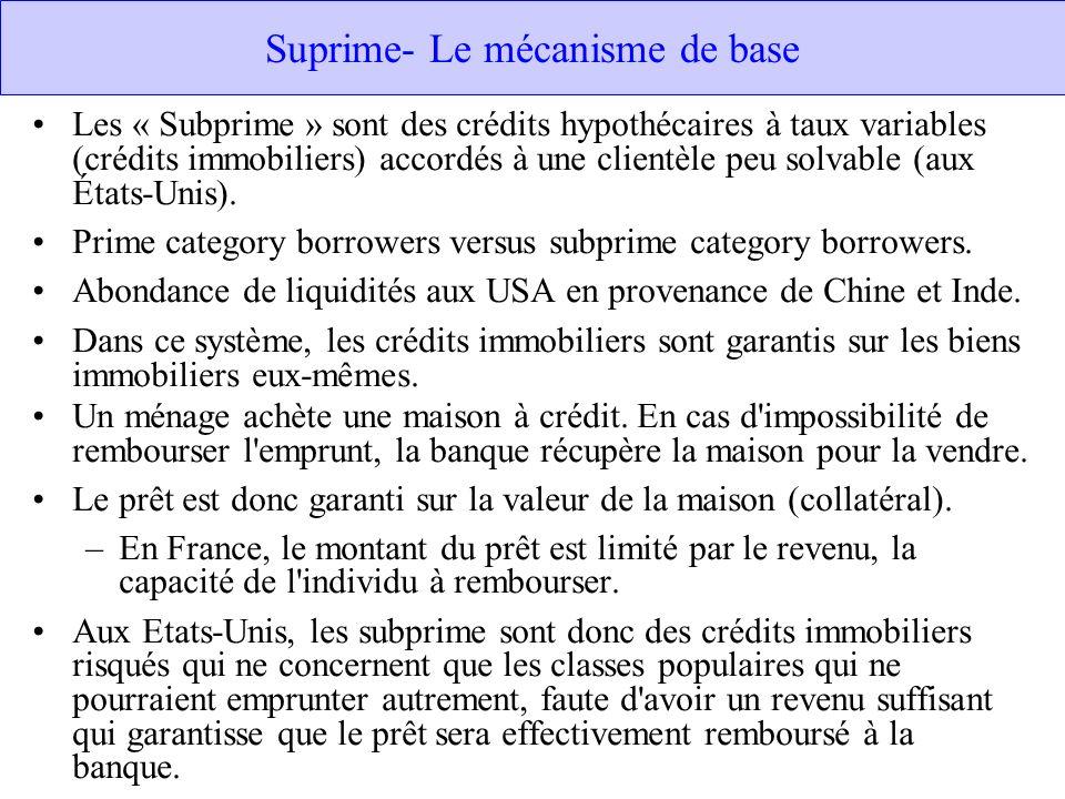 Suprime- Le mécanisme de base Les « Subprime » sont des crédits hypothécaires à taux variables (crédits immobiliers) accordés à une clientèle peu solv