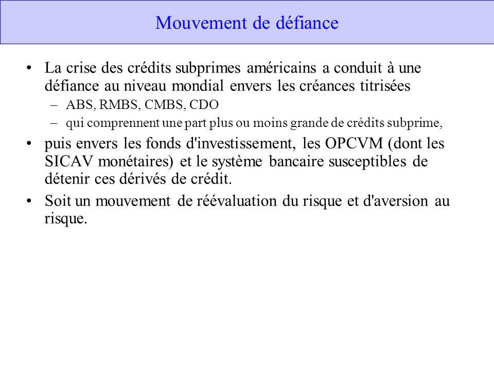 Mouvement de défiance La crise des crédits subprimes américains a conduit à une défiance au niveau mondial envers les créances titrisées –ABS, RMBS, C