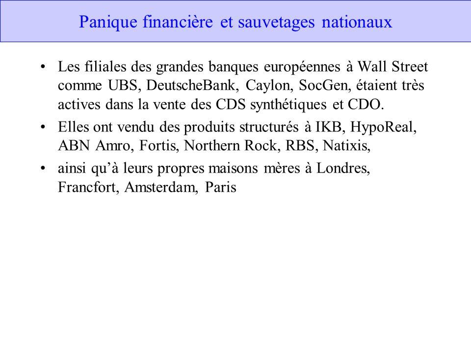 Panique financière et sauvetages nationaux Les filiales des grandes banques européennes à Wall Street comme UBS, DeutscheBank, Caylon, SocGen, étaient