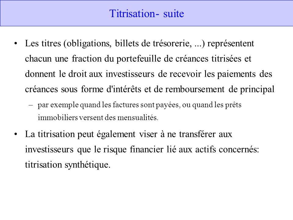 Titrisation- suite Les titres (obligations, billets de trésorerie,...) représentent chacun une fraction du portefeuille de créances titrisées et donne