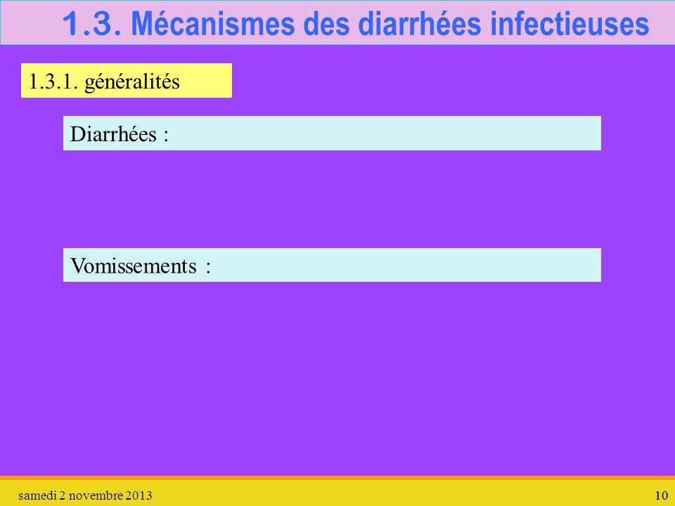 samedi 2 novembre 201310 1.3. Mécanismes des diarrhées infectieuses 1.3.1. généralités Diarrhées : Vomissements :