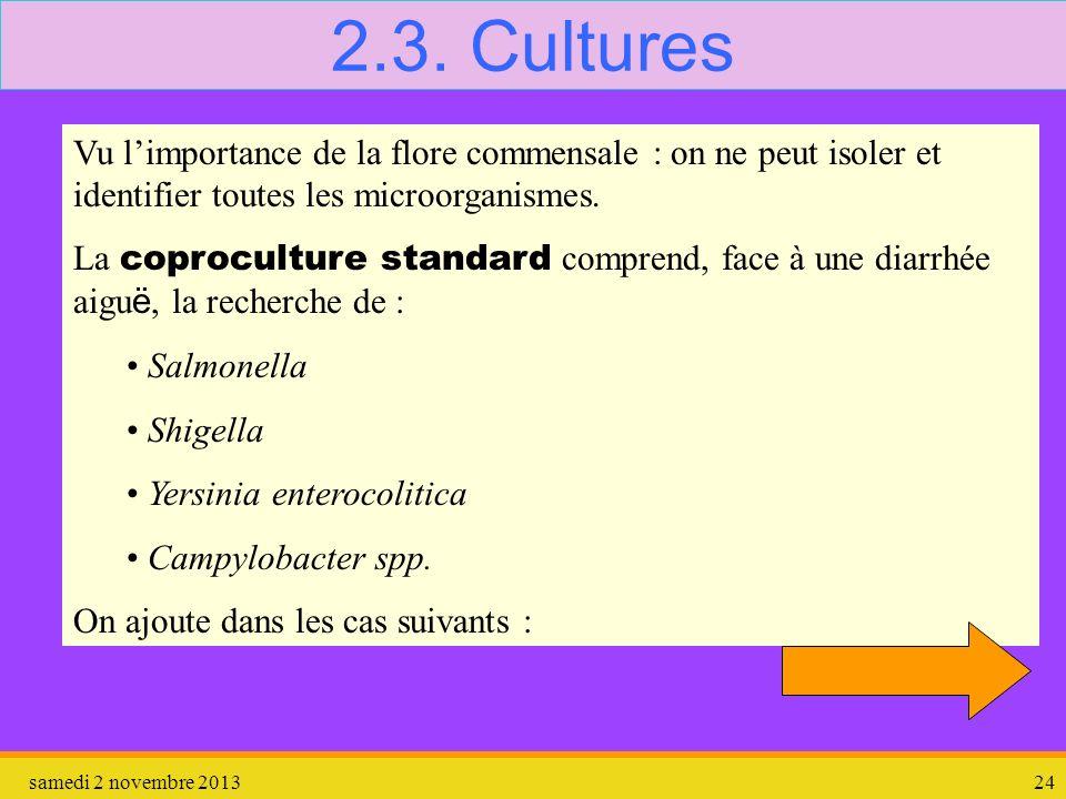 samedi 2 novembre 201324 2.3. Cultures Vu limportance de la flore commensale : on ne peut isoler et identifier toutes les microorganismes. La coprocul