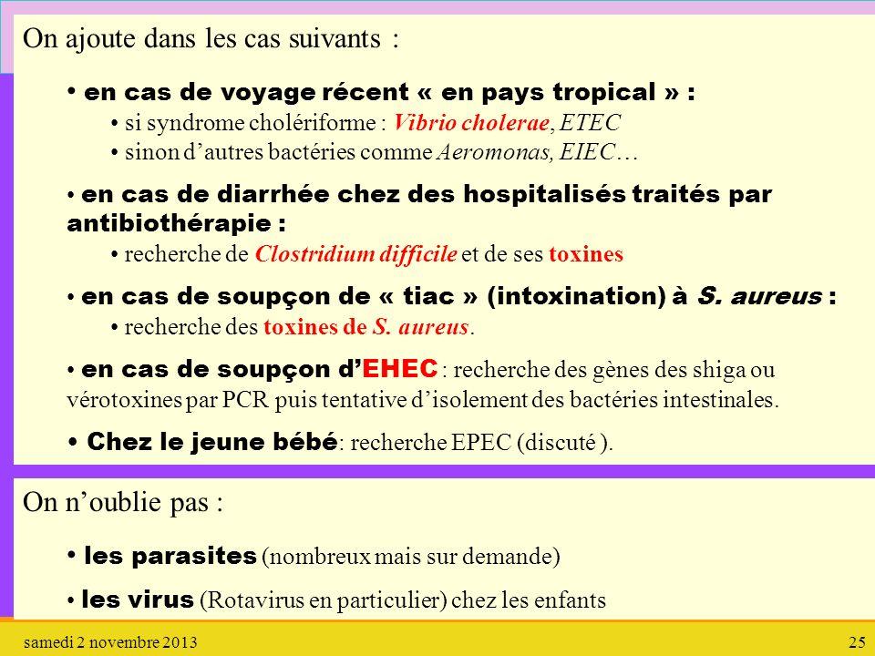 samedi 2 novembre 201325 2.3. Cultures On ajoute dans les cas suivants : en cas de voyage récent « en pays tropical » : si syndrome cholériforme : Vib